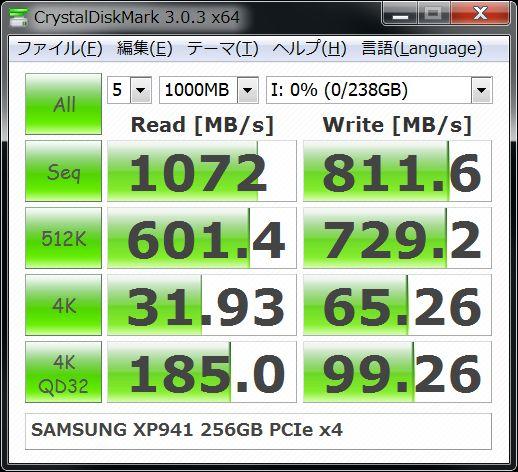 CrystalDiskMark SAMSUNG XP941 256GB