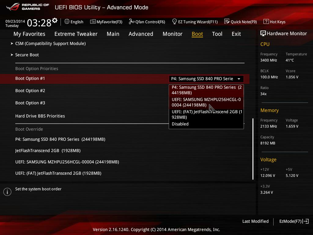 ASUS MAXIMUS VII IMPACTのUEFI-Boot Option画面