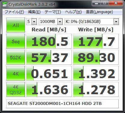ST2000DM001-1CH164 CrystalDiskMark
